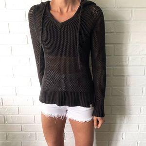 Roxy black cotton knit mesh swim cover up hoodie M